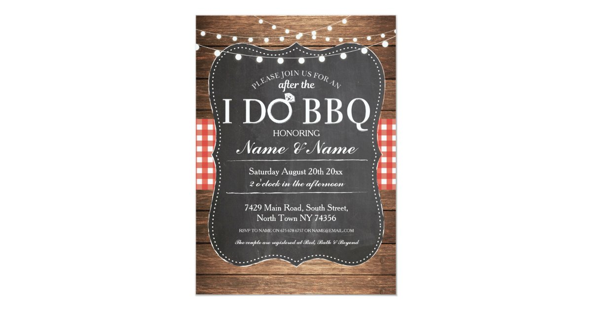 After Wedding Party Invitation: After The I DO BBQ Post Wedding Invitation Chalk
