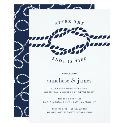 After the Knot is Tied Wedding Brunch Invitation