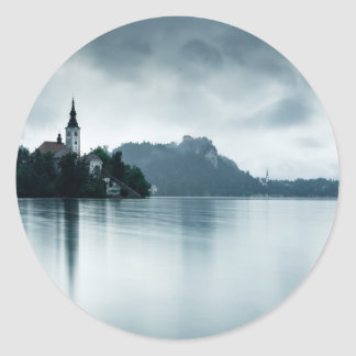 After the rain at Lake Bled Classic Round Sticker