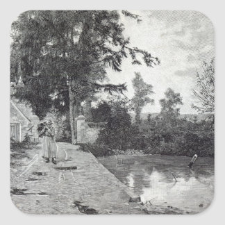 After the rain, from 'Leisure Hour', 1888 Square Sticker