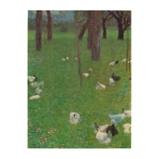 After the Rain, Garden with Chickens by Klimt Wood Canvases