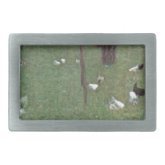 After the Rain (Garden with Chickens in St. Agatha Rectangular Belt Buckle