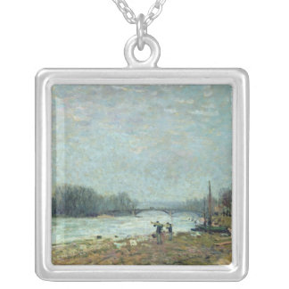After the Thaw, the Seine at Suresnes Bridge Silver Plated Necklace