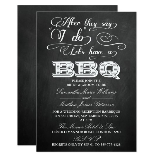 After They Say I Do Lets Have A BBQ Chalkboard Card – After Rehearsal Dinner Party Invitations