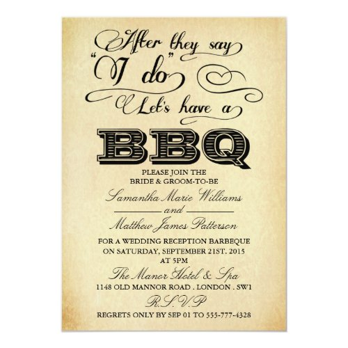 ... After They Say I Do, Lets Have A BBQ Invitation