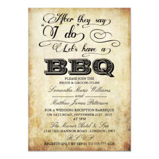 After They Say I Do, Lets Have A BBQ! - Vintage 5x7 Paper Invitation Card