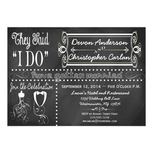 After Wedding Trendy Chalkboard Invitation