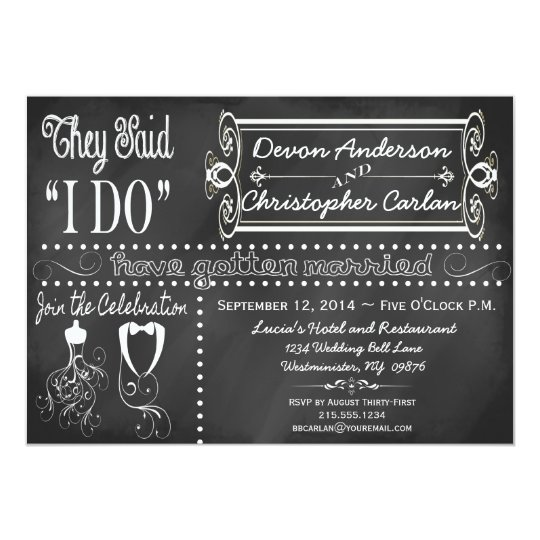 After Party Wedding Invitations: After Wedding Trendy Chalkboard Invitation