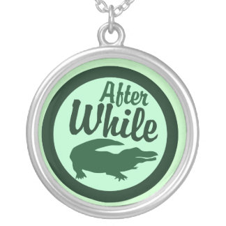 After while crocodile round pendant necklace