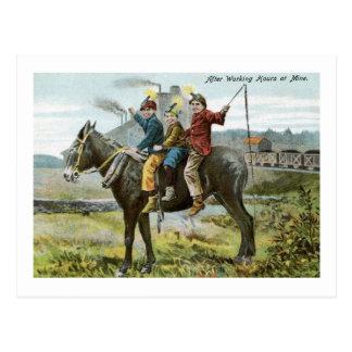 After Working Hours at Mine Vintage Postcard