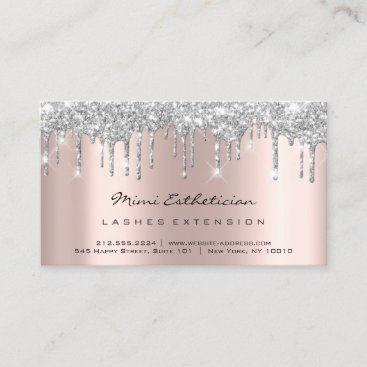 Aftercare Instructions Lash Rose Gold Drips Gray Business Card