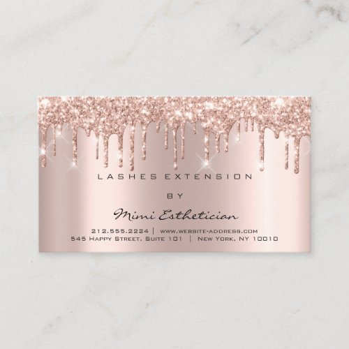 Aftercare Instructions Lash Rose Gold Drips Spark Business Card