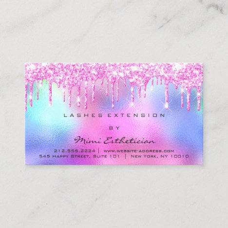 Aftercare Instructions Lash Rose Pink Drips Spark Business Card