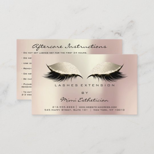 aftercare instructions lashes ivory rose gold business card - Rose Gold Business Cards