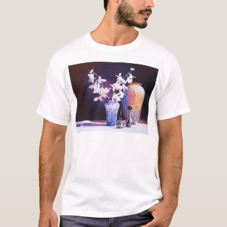 """Afterglow"" Art Glass & Flowers Watercolor T-Shirt"