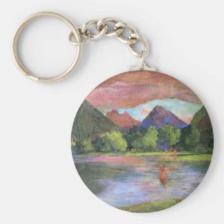 'Afterglow, Tautira River, Tahiti' - John LaFarge Basic Round Button Keychain