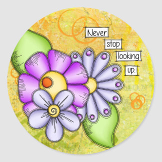 Afternoon Delight Positive Thought Doodle Flower Classic Round Sticker