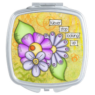 Afternoon Delight Positive Thought Doodle Flower Makeup Mirror