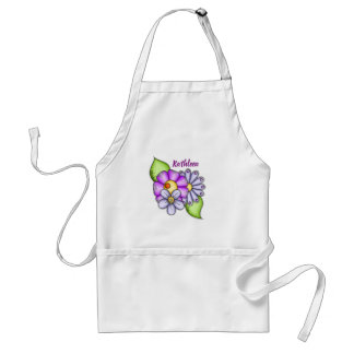 Afternoon Delight Watercolor Doodle Flower Apron