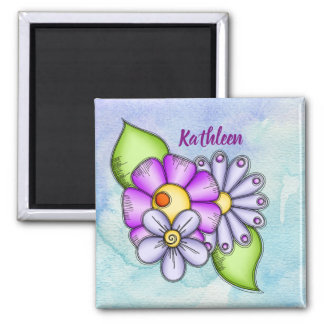 Afternoon Delight Watercolor Doodle Flower Magnet