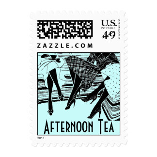 Afternoon High Tea Friends Share Retro Blue Stamps