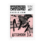 Afternoon High Tea Friends Share Retro Pink Stamps