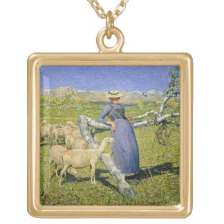 Afternoon in the Alps, 1892 (oil on canvas) Gold Plated Necklace