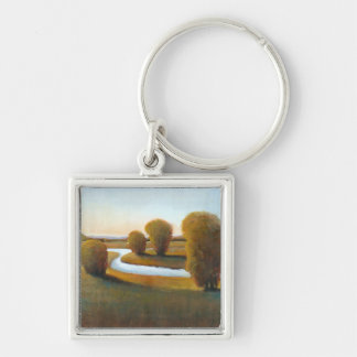 Afternoon Light V Silver-Colored Square Keychain