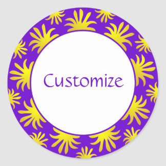 Afternoon of the Triffids Template - Purple & Gold Classic Round Sticker