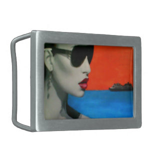 """Afternoon Reflections on a Shore"" on a Buckle Belt Buckle"
