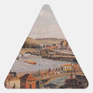 Afternoon, Sun, Rouen by Camille Pissarro Triangle Sticker