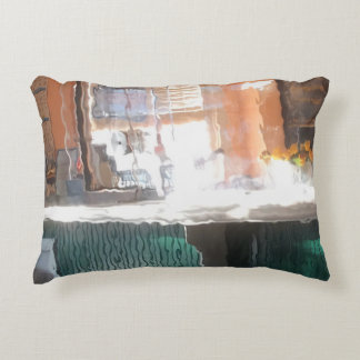 Afternoon sunlight, train station decorative pillow