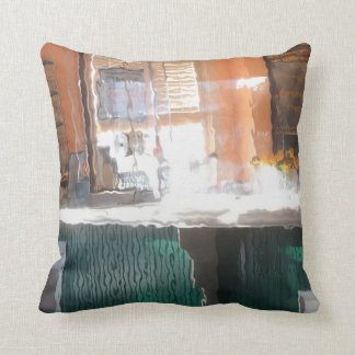 Afternoon sunlight, train station throw pillows