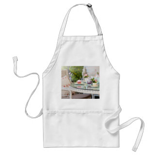 Afternoon tea and cakes in the garden apron