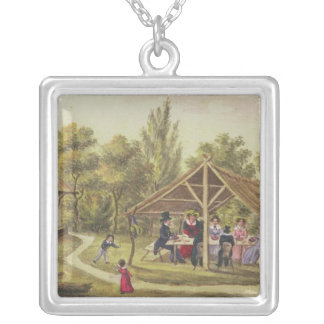 Afternoon tea at a tavern from the journal of silver plated necklace