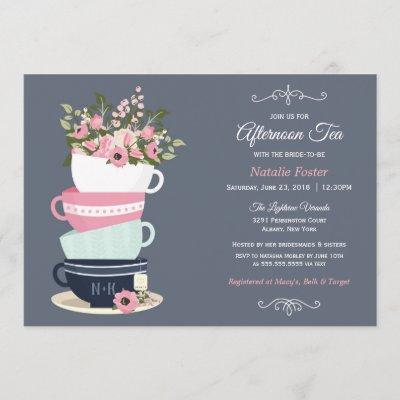 Afternoon Tea Bridal Shower Invitation   Blue Pink