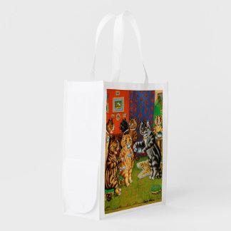 Afternoon Tea Cats, Louis Wain Grocery Bag