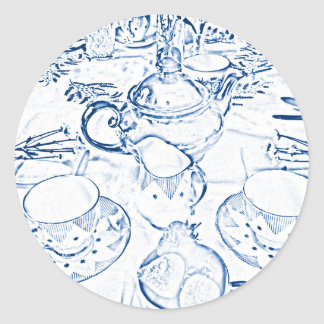 Afternoon Tea in Blue Classic Round Sticker