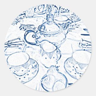 Afternoon Tea in Blue Classic Round Sticker