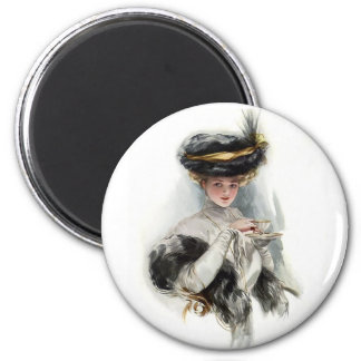 Afternoon Tea Lady 2 Inch Round Magnet