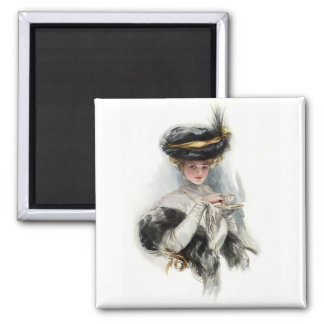 Afternoon Tea Lady 2 Inch Square Magnet