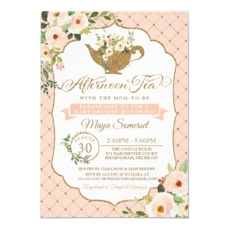 Afternoon Tea Luxury Blush Pink Floral Baby Shower Invitation