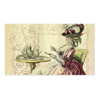 Afternoon Tea, pale dove grey stripes Business Card
