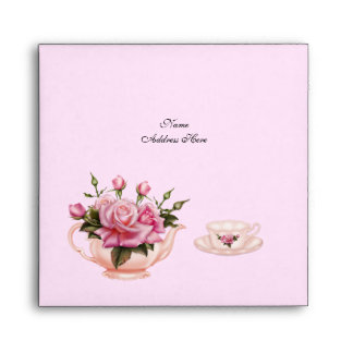 Afternoon Tea Party Pink Peach Rose Floral Teapot Envelopes