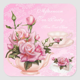 Afternoon Tea Party Pink Peach Rose Floral Teapot Stickers