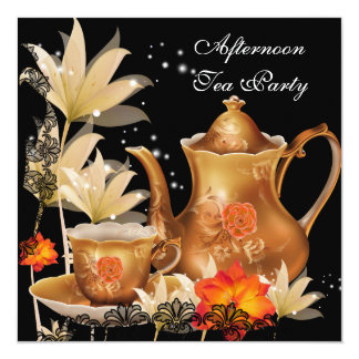 Afternoon Tea Party Vintage black gold Teapot 5.25x5.25 Square Paper Invitation Card