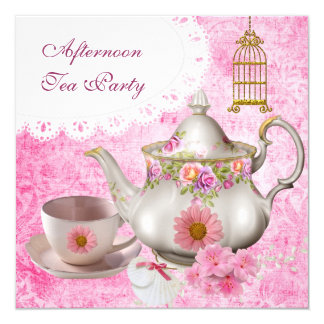 Afternoon Tea Party Vintage Pink Floral Teapot Card