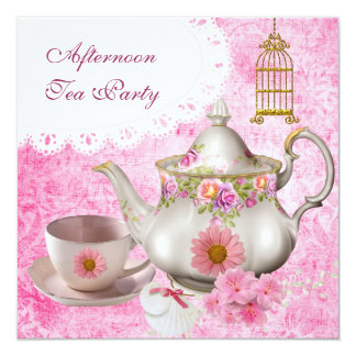 Afternoon Tea Party Vintage Pink Floral Teapot Personalized Invitations