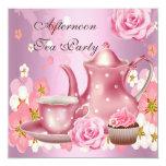 Afternoon Tea Party Vintage Pink Rose Teapot Invitation