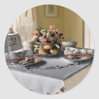 Afternoon tea setting classic round sticker